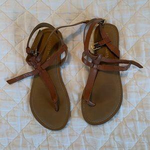 Franco Sarto Cognac Strappy Flat Sandals